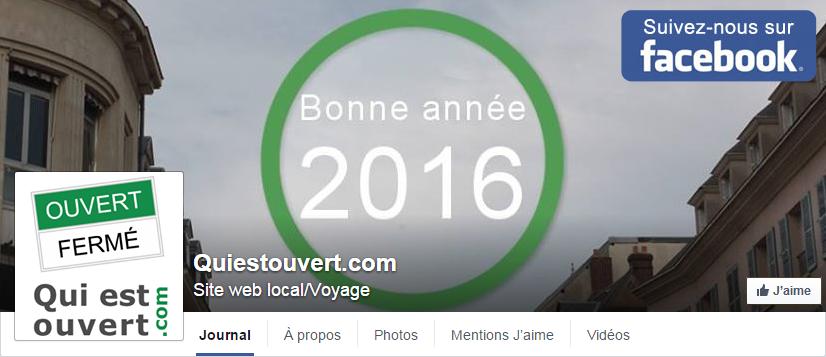 Page Facebook de Quiestouvert.com