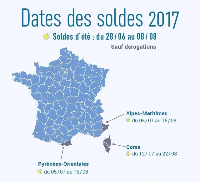 Dates des soldes d'été 2017 par département